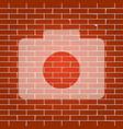 digital camera sign whitish icon on brick vector image vector image