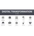 digital transformation simple concept icons set vector image vector image