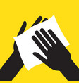 drying hand with towel vector image