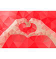 Female hands making a heart shape by abstract vector image