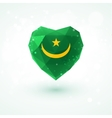 Flag of Mauritania in shape diamond glass heart vector image vector image