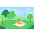 flat outdoor picnic in vector image
