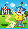funny clown with circus tent vector image vector image