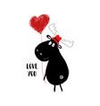 funny moose holding heart balloon vector image vector image