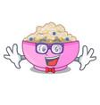 geek traditional porridge rice in bowl cartoon vector image vector image
