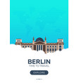 germany berlin time to travel travel poster vector image vector image
