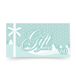 gift card with thin white bow ribbon for christmas vector image vector image