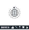 Globe symbol with satellites icon flat vector image vector image
