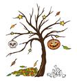 Halloween tree pumpkin skull vector image vector image