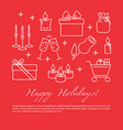 happy holidays celebration concept poster in line vector image vector image