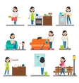 Home Cleaning Flat Collection vector image vector image