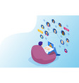 isometric social network concept man laptop using vector image vector image