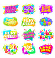 kids zone labels fun kid game logo sports party vector image