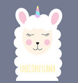 little cute unicorn llama for card and shirt vector image