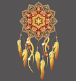 mandala with dreamcatcher vector image vector image