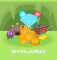 mining jewels concept cartoon style vector image vector image