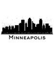 minneapolis minnesota usa skyline black and white vector image vector image