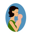 mother holding a baby and giving him a kiss on the vector image vector image