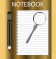 notebook pencil and magnifier on golden vector image