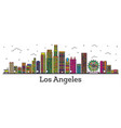 outline los angeles california city skyline with vector image vector image