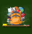 school green chalkboard with backpack vector image vector image