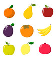 set of fruit organic vegetarian healthy food vector image vector image
