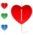 Set of paper hearts on toothpicks vector image vector image