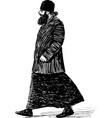 sketch orthodox priest striding down street vector image