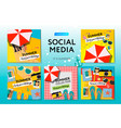 social media templates summer time use for blog vector image vector image
