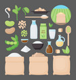 soy flat icon set vector image vector image