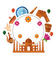taj mahal indian mosque with set cultural icons vector image