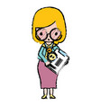 teacher with glasses and report test vector image vector image
