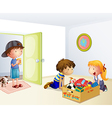 Three kids inside the house with a box of toys vector image vector image