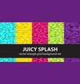 triangle pattern set juicy splash seamless vector image vector image
