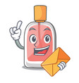 with envelope parfum botlle shape on the cartoon vector image