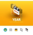 Year icon in different style vector image