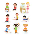 artist young school kids children making creative vector image