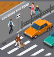 blind person on crosswalk isometric vector image