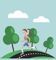 girl jogging nature vector image