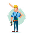 timber frame house construction worker vector image