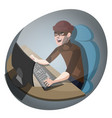 hacker at the computer vector image