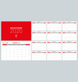 2020 calendar planner design template week start vector image