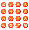 3d printing icons set red vector image