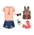 a set of summer outfit collection with accessories vector image vector image