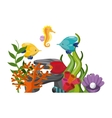 algae coral fish oyster shell and sea horse icon vector image