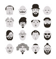 black and white faces men vector image vector image