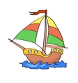 boat cartoon colorful on a white background vector image vector image