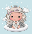 cartoon christmas angel is sitting on a cloud vector image