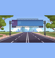 cartoon highway empty road with city skyline on vector image