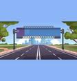 cartoon highway empty road with city skyline vector image